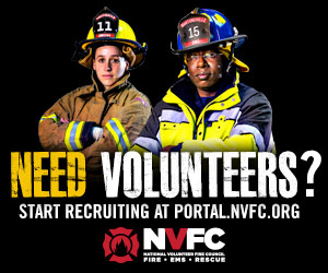 300x250 banner ad with male and female firefighters for placement on partner websites.