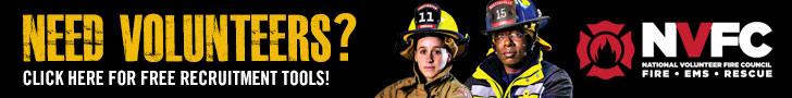 728x90 banner ad with male and female firefighters for placement on partner websites.